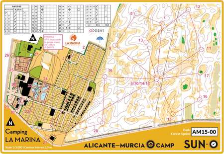 Alicante Permanent Camp April 3rd 2015 Orienteering Map from sun