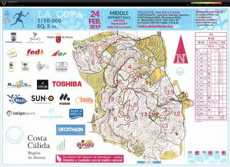Costa Calida E4 Middle March 7th 2019 Orienteering Map From