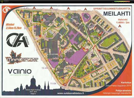 Hnc Meilahti December 14th 2016 Orienteering Map From Markku Helin