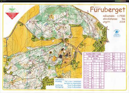 furuberget kart Pinseløp Hamar Elgdilten   June 9th 2014   Orienteering Map from  furuberget kart