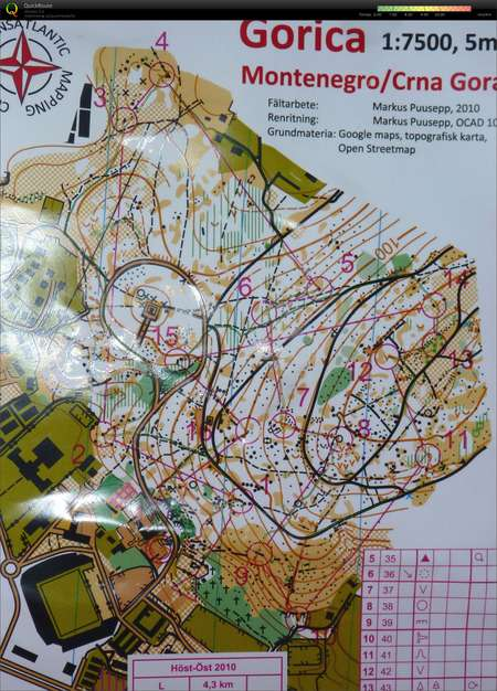 Host Ost Montenegro November 11th 2010 Orienteering Map From