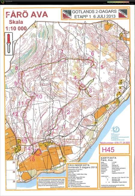Gotlands 2 Dagars Etapp 1 July 6th 2013 Orienteering Map From