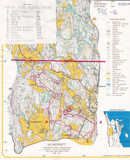 Horten June 20th 1982 Orienteering Map from Carl Erik Wasberg