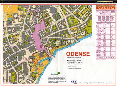 Fynsk Sprint Cup H70 Et 2 May 18th 2019 Orienteering Map From
