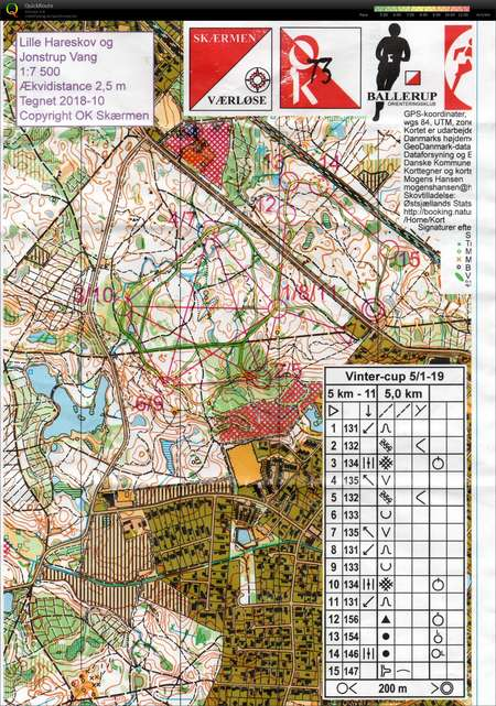 Vintercup 050119 H60 January 5th 2019 Orienteering Map From