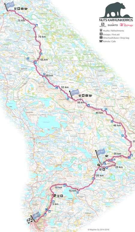 Nuts Karhunkierros 160 Km May 27th 2016 Orienteering Map From