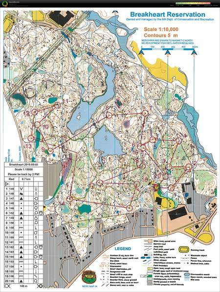 NEOC event at Breakheart - May 1st 2016 - Orienteering Map ...