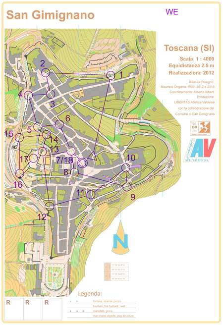 san gimignano w senior november 5th 2016 orienteering map from