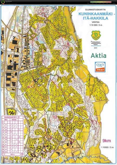 Pihkakortteli Hakunila March 22nd 2015 Orienteering Map From