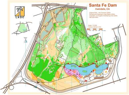 Irwindale California Map.Santa Fe Dam March 11th 2006 Orienteering Map From Los Angeles
