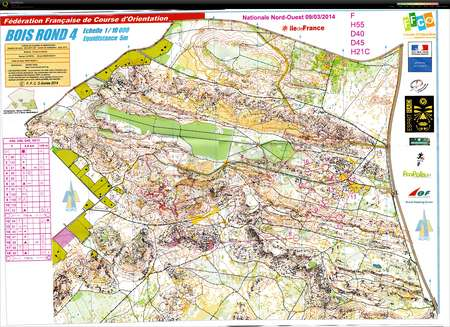 Nationale NO Fontainebleau March 9th 2014 Orienteering Map from