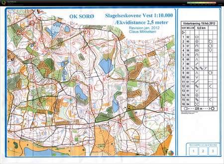 VTR Slagelse 190212 February 19th 2012 Orienteering Map from