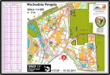 Wroclaw Night Orienteering Fight March 1st 2011 Orienteering Map