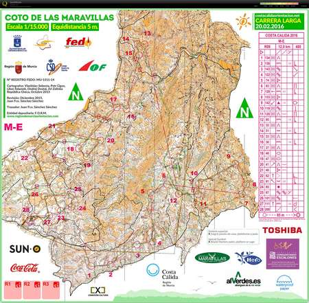 Costa Calida Long February 20th 2016 Orienteering Map From