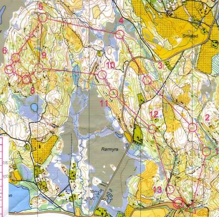 Km Kort Smistad Trondheim May 22nd 2003 Orienteering Map From
