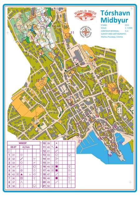 Torshavn WWOP race, Faroe Islands - July 6th 2011 - Orienteering Map ...