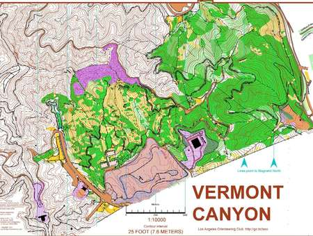Griffith Park Los Angeles Map.Vermont Canyon Griffith Park April 22nd 2007 Orienteering Map
