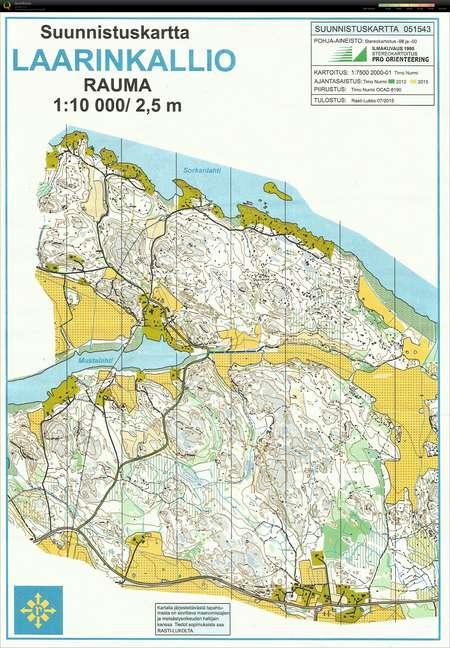 Steinplattentraining Rauma June 11th 2015 Orienteering Map from