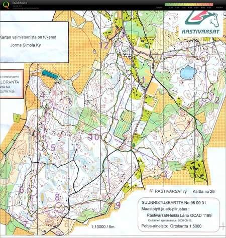 Iltarastit June 18th 2012 Orienteering Map From Paivi Orava