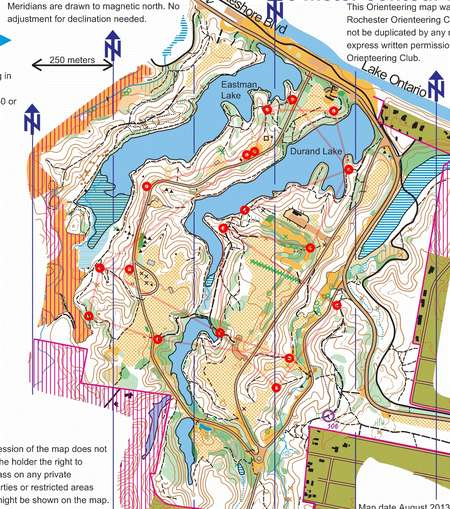 Durand Eastman Park Trail Challenge July 22nd 2014 Orienteering Map From Misc Us Events