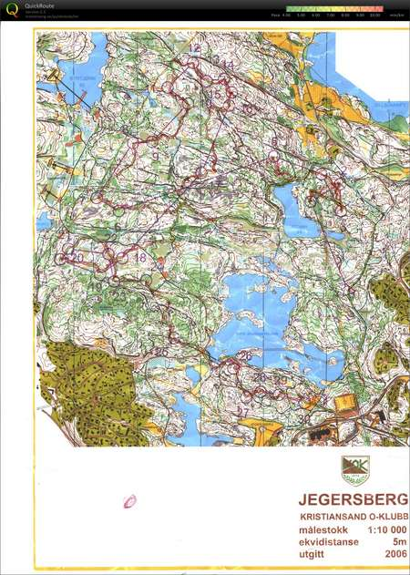 Camp Norway Kristiansand January 16th 2011 Orienteering Map from