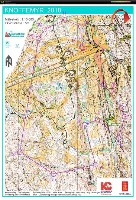 Pinselopet I Kongsberg Dag 1 May 19th 2018 Orienteering Map