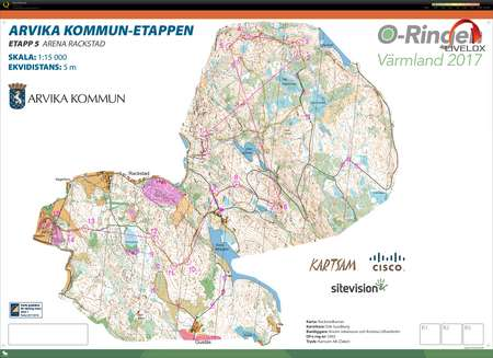 kart over arvika O Ringen #5   chasing start   July 28th 2017   Orienteering Map  kart over arvika