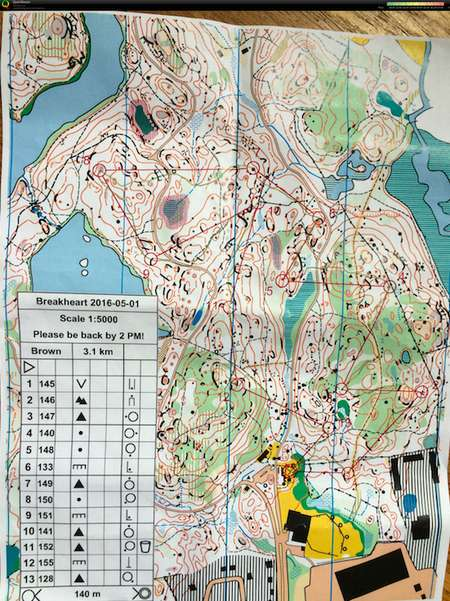 Breakheart - May 1st 2016 - Orienteering Map from Isabel Bryant