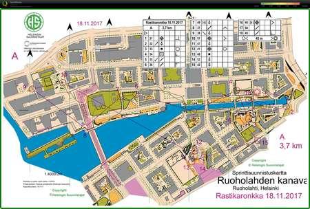 Ruoholahti Sprintti November 18th 2017 Orienteering Map From
