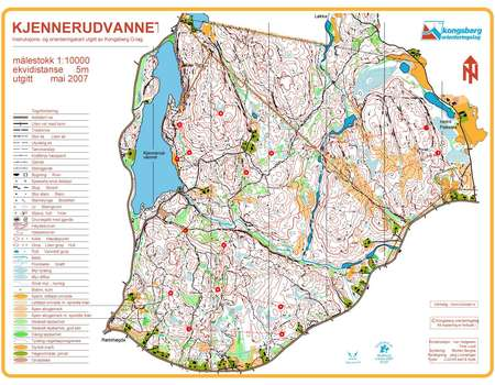 Treningslop Kjennerudvannet May 19th 2011 Orienteering Map