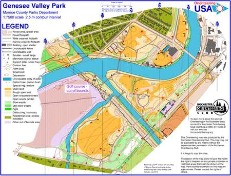 Genesee Valley Park Trail Challenge July 11th 2013 Orienteering Map From Misc Us Events