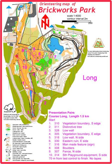 newcastle presentation pairs long november 20th 2010 orienteering map from orienteering nsw