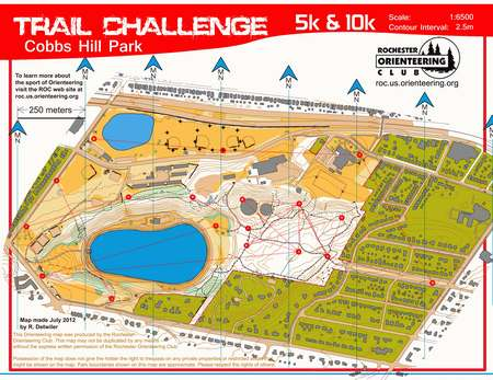 Cobbs Hill Trail Challenge August 1st 2012 Orienteering Map From Misc Us Events