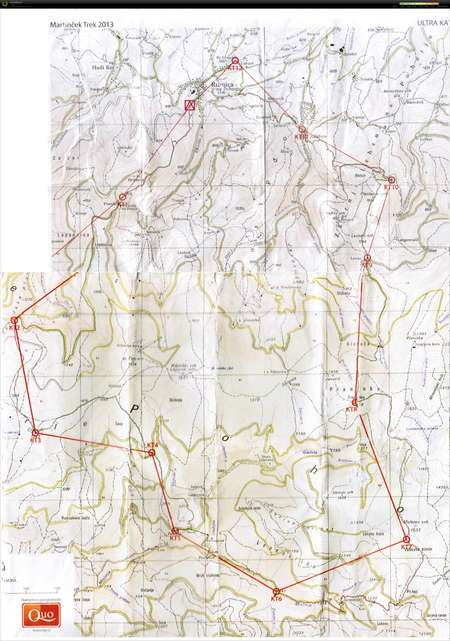 Martin?ek trek 2013 - ultra - June 8th 2013 - Orienteering Map from