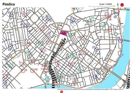 Pimlico London Map.Pimlico Street O December 11th 2012 Orienteering Map From South