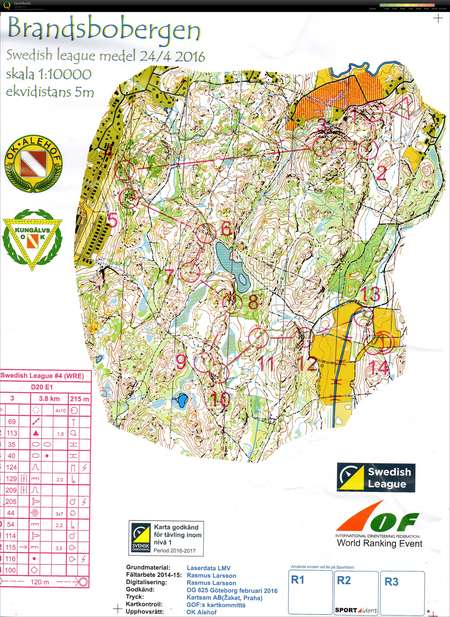 Sl Goteborg 4 April 24th 2016 Orienteering Map From Anna