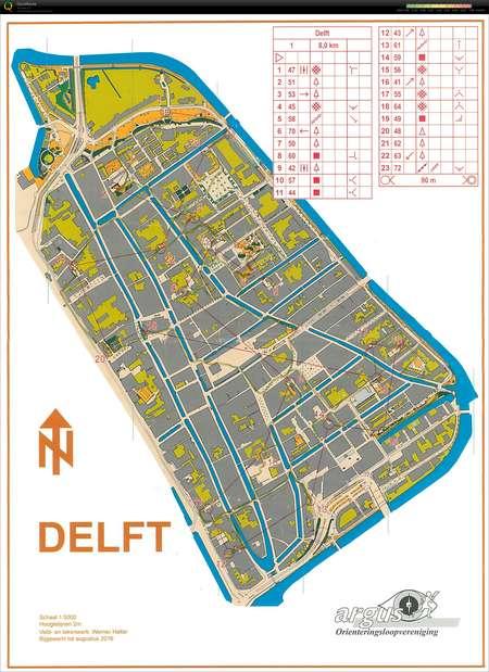 Delft City Race September 4th 2016 Orienteering Map from Ralph Kurt