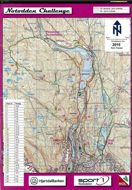 Notodden Challenge June 6th 2015 Orienteering Map from Audun Heimdal