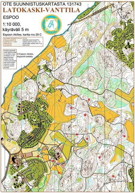 Espoorastit 4 Cd Vanttila April 28th 2015 Orienteering Map