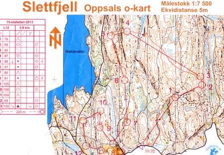 Slettfjell June 8th 2013 Orienteering Map From Gaute Langaas