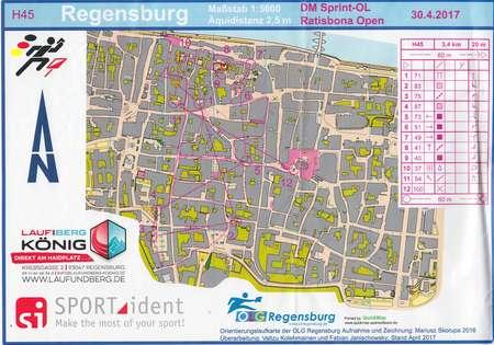 Deutsche Meisterschaften SprintOL Regensburg April Th - Regensburg map