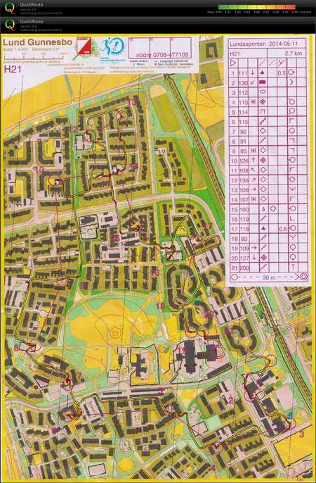 Lund Sprint Training 2 June 24th 2015 Orienteering Map from