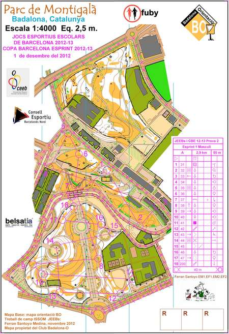 Barcelona Sprint Cup 2012 13 Race 2 Orienteering Map From