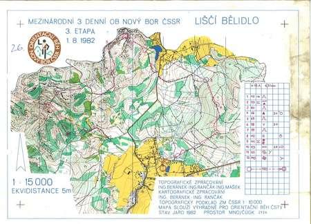 Novy Bor 3 Etapa August 1st 1982 Orienteering Map From Tibor Vari
