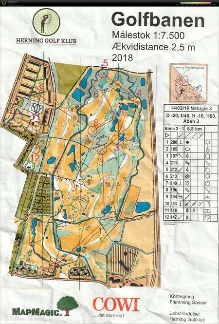Natugle 3 Golfbanen H50 March 14th 2018 Orienteering Map from