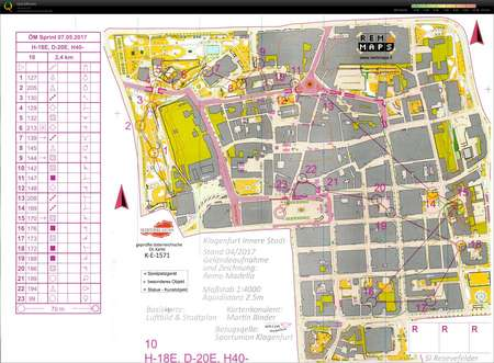 M Sprint Klagenfurt May 8th 2017 Orienteering Map from Klaus Degen