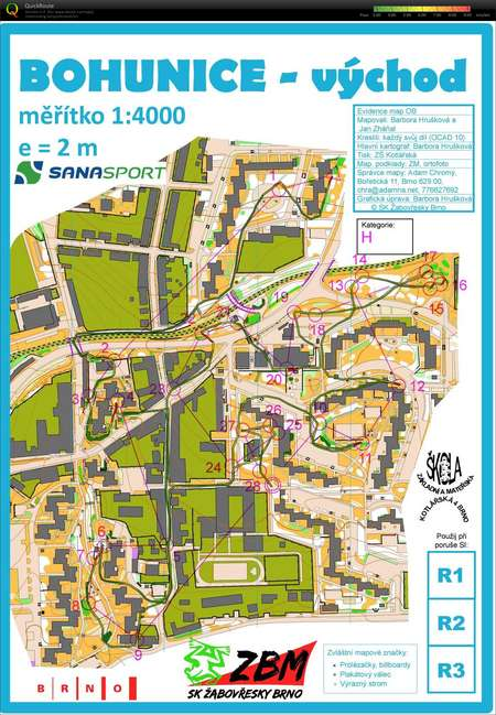 Bzl Bohunice January 12th 2014 Orienteering Map From Standa Mokry