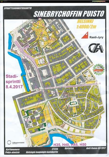 Stadisprintti April 8th 2017 Orienteering Map From Markku Helin
